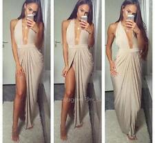 NEW House of CB Celeb Boutique Salima Gold Grecian Thigh Split Maxi Long Dress S