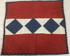 Vintage Patchwork Mini Quilt Table Topper, Red With Navy Blue & White Applique