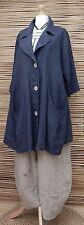LAGENLOOK LINEN BEAUTIFUL A-LINE 2 POCKETS LONG JACKET*NAVY*BUST UP TO 50""