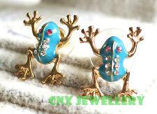 Unique Designer's Green Tree Frog Rhinestone Earring Studs Gold Kids Gift