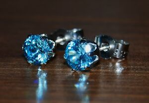 Round Aqua Blue CZ Set in Sterling Silver Buttercup Claw Post Ear Studs.