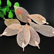 4pcs Red Copper Brass Natural Leaf Plated Pendant Charms Jewelry DIY Accessories