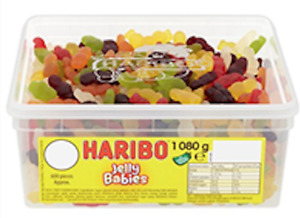 HARIBO Fruit Flavoured Gums, Jelly Babies, 1.08 kg tub, No Artificial Colours