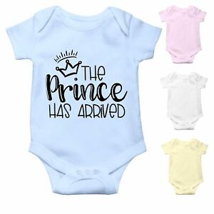 The Prince has arrived   Newborn Baby Boy Baby Grow   Baby announcement