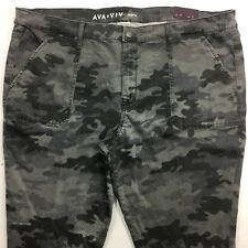 AVA & VIV Jeans JEGGING Plus Size 24W Regular - Grey Camo Patch Pockets