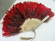 Large Red Antique Victorian Ostrich Feather Hand Fan-Ornate Pierced Wood Sticks