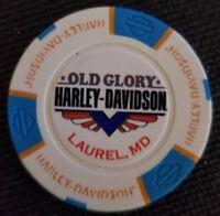 OLD GLORY HD ~ MARYLAND (White/Aqua/Org Full Color) Harley Davidson Poker Chip