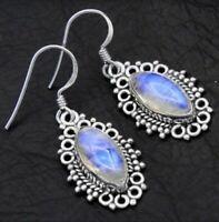 925 Silver Moonstone Marquise Cut Women Jewelry Gift Dangle Drop Earrings