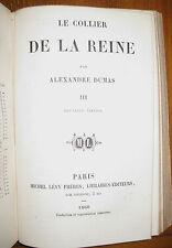 1860 Le collier de la Reine Alexandra Dumas 3 tomes en 1 vol. Marie-Antoinette