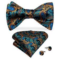 Mens Silk Bow Tie Teal Green Brown Paisley Self Bowtie Necktie Hanky Cufflinks