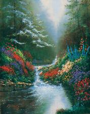 Solitude by Derk Hansen Landscape Flowers Stream Waterfall Giclee Art 30x38 VCS