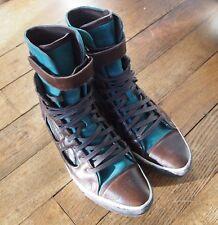 Baskets hautes Puma feat Alexander McQueen, marron/turquoise, daim/cuir, T 38