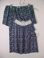 Lucky Brand Navy & White 2 pc Cami w/ Lace & Shorts Sleepwear Cotton Rayon NWT L