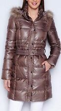LAURA CLEMENT LONG HOODED DUCK DOWN FILLED FITTED JACKET SIZE 10 UK (38 EU)