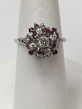 14K White Gold Vintage Diamond And Ruby Cluster Ring Size 6.5