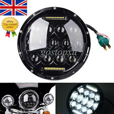 """7"""" Black Motorcycle Projector Daymaker Headlight HID LED Light Lamp For Harley"""