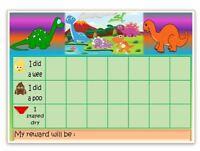 MAGNETIC- DINOSAURS -Reward Chart - POTTY-TOILET TRAINING- FREE pen/stickers