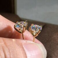 4Ct Round Cut Moissanite Diamond Solitaire Stud Earrings 14K Yellow Gold Finish