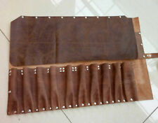 Chef's Knife Roll Bag Tan Real Leather Knife Roll Carry Wallet Case 10 Pockets
