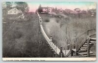 Columbus Junction Iowa~Victorian Lady on Lover's Leap Bridge~Houses on Hill~1912