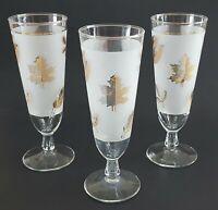 Vintage Frosted Glass Drinking Glasses Short Stem Gold Trim Fall Leaf Pilsner
