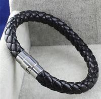 Vintage Unisex Men Women Leather Genuine Braided Steel Magnetic Clasp Bracelet Y