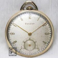 10k Gold 1952 BULOVA 17 Jewel Wind Up Pocket Watch Swiss Made Model 17AH Vintage