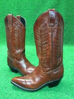 DIAMOND J Red Rust Brown Leather Cowboy Western Roper Boots Womens Size 5.5 B