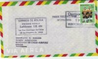 Bolivia 1968 to Chile flight stamps cover r19783