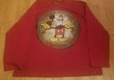 COLLECTIBLE Disney  Men's XXL Mickey Mouse T-Shirt W/ Clock Long Sleeve Rare
