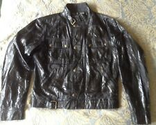 Belstaff Mens Six Days Blouson Black Shiny Wax Cotton Jacket Size Medium