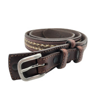 Orvis Mens Belt Outdoor Hunting Fishing Western Leather 2J6T Brown 38 XL Large