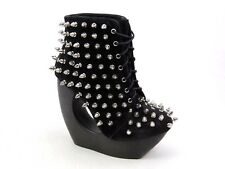 WOMENS JEFFREY CAMPBELL ROXIE BLACK NUBUCK STUD SPIKE WEDGE ANKLE BOOTS SIZE 5