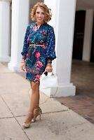 Loft Ann Taylor Floral Wildflower Satin Dress Blue Bohemian Medium Fun Flirty