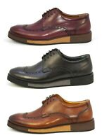 Elegante Men's Crotone Premium Leather Wingtip Toe Oxford Shoes MADE in ITALY