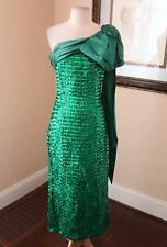 Vtg 80s Green Sequin Beaded One Shoulder Formal Retro Prom Dress Size 9 M Party