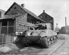 WWII B&W Photo M4 Sherman Tank with Concrete Armor 2nd Armor 1945  WW2 / 3025