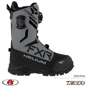 New 2021 FXR Helium Dual BOA Snowmobile Boot Black/Steel Size 10 12