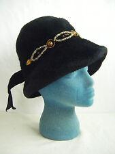 SCHIAPARELLI/ MARTELLE Vtg 50-60s Black Wool Felt Beaded Stone Hat
