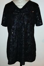 White Stag Ladies Sz Med Black With Sparkly Sequins And Paisley Pattern Blouse