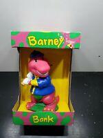 """Vintage 1992 Barney Bank / Rare Baseball Coin Piggy Bank 7"""" NIB"""