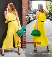 Zara Pleated Yellow Draped Long Jumpsuit SIZE XS M L XL
