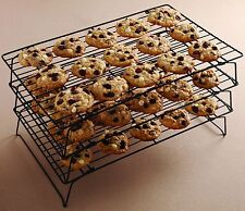 Three Tier Non-stick Cake Cooling Rack Cup Cakes Muffins Stand Metal Shelving