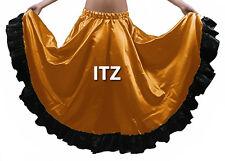 White/Black Satin 12 Yard Flamenco Skirt BellyDance Gypsy Tribal Ruffle Jupe ATS