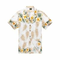 Men Tropical Hawaiian Aloha Shirt Cruise Luau Beach Party Tan Cross Floral YeL