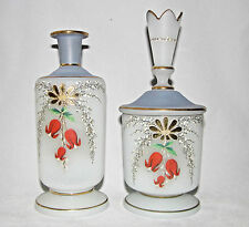 Bristol Victorian Blue White Satin Glass VANITY Dresser BOTTLE & VASE Perfume