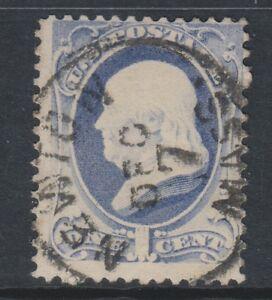 USA - 1870/1, 1c Bleu Profond Tampon - D'Occasion - Sg 147 (Un)