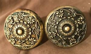 Pair Of Antique Corbin Brass Door Knobs Parthenon Pattern 1900