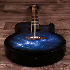 Lindo Ocean Storm Slim Blue Electric / Electro Acoustic Guitar LCD Preamp & Acc