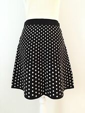 NWT $80 Max Studio A-line Skirt Size M Black White Polka Dots Pattern Trapeze